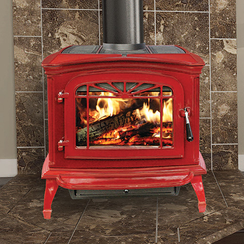 SWC21 Cast Iron Wood Stove - Red Porcelain